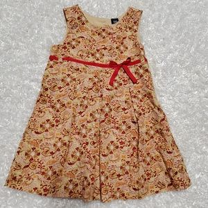 NWT Baby Gap Paisley Tan & Red Peplum Dress